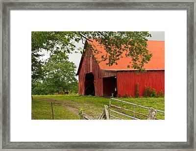 Red Barn With Orange Roof 1 Framed Print by Douglas Barnett
