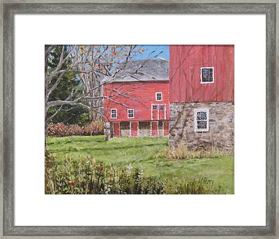 Red Barn With Shadows Framed Print