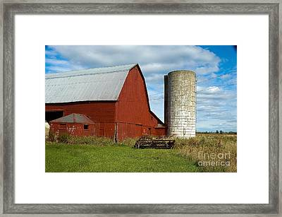 Red Barn With Silo Framed Print by Ginger Harris