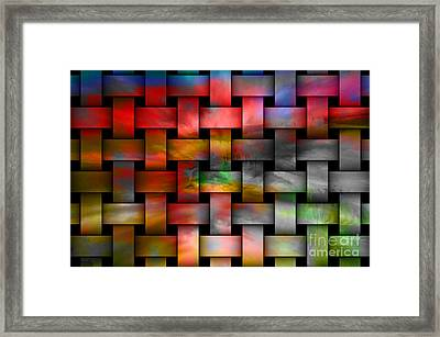 Red Basket Weave Abstract. Framed Print