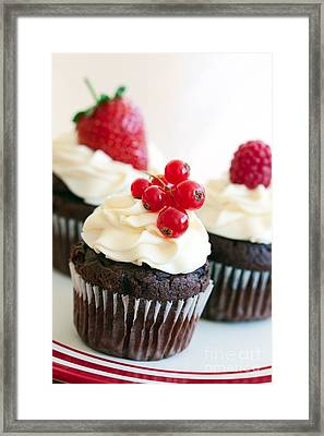 Red Berry Cupcakes Framed Print by Ruth Black