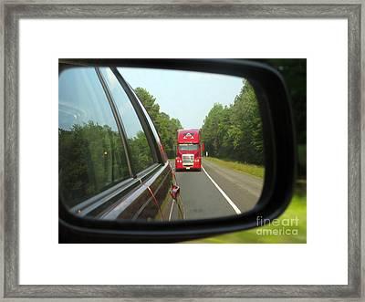 Red Big Truck Behind Framed Print