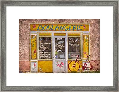 Red Bike At The Boulangerie Framed Print by Debra and Dave Vanderlaan