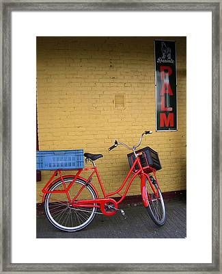 Red Bike With Blue Basket Framed Print by Jill Pro
