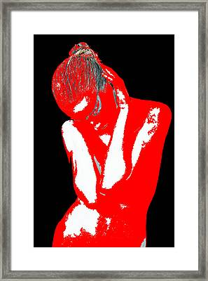 Red Black Drama Framed Print by Naxart Studio