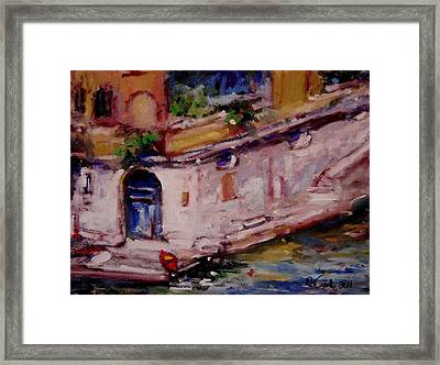 Red Boat Blue Door Framed Print by R W Goetting