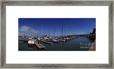 Framed Print featuring the photograph Red Boat Panorama  by Sherry Davis