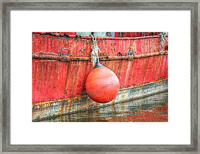 Red Boat With Bumper Framed Print