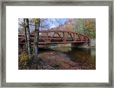 Red Bridge Framed Print by Debra and Dave Vanderlaan