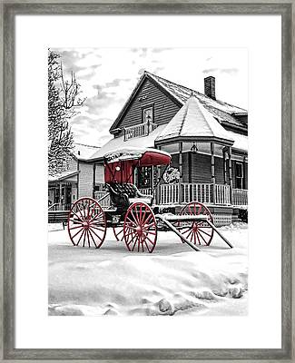 Red Buggy At Olmsted Falls - 2 Framed Print