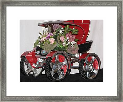 Red Buggy Floral Piece Framed Print by HollyWood Creation By linda zanini