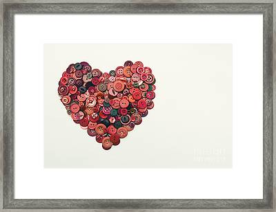 Red Button Heart Framed Print by Catherine MacBride