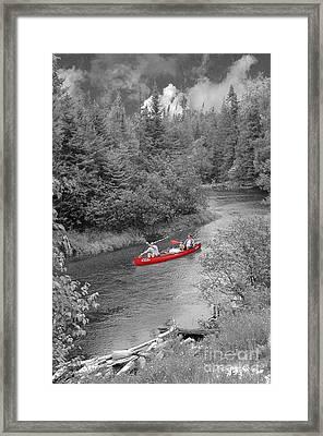 Red Canoe Framed Print by Jim Wright