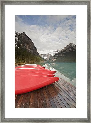 Red Canoes At Lake Louise Framed Print by Jack Booth Photography