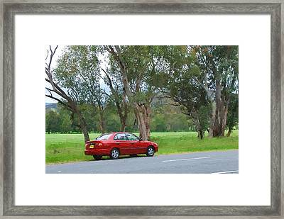 Red Car In The Countryside Framed Print