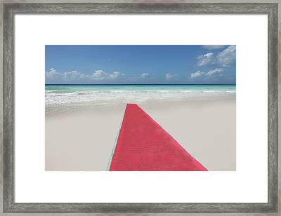 Red Carpet On A Beach Framed Print