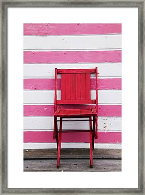 Red Chair And Pink Strips Framed Print by Garry Gay