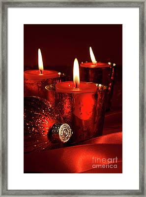 Red Christmas Balls With Bows On White Framed Print by Sandra Cunningham