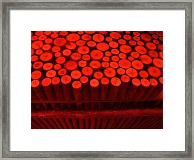 Red Circle Sticks Framed Print by Kym Backland