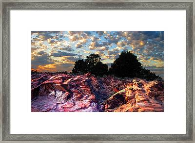 Red Cliff Sunset Framed Print by Ric Soulen