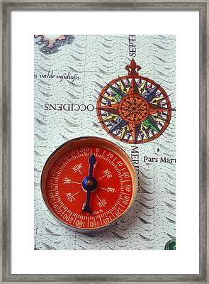 Red Compass And Rose Compass Framed Print by Garry Gay