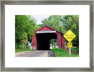 Red Covered Bridge, Princeton, Illinois, Usa Framed Print