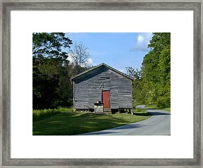 Red Door Of The One Room School House Framed Print by Douglas Barnett