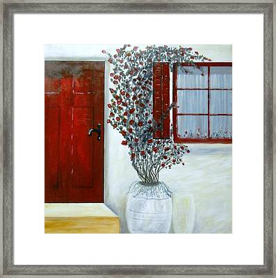 Red Door Rose Framed Print