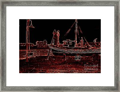 Red Electric Neon Boat On Sc Wharf Framed Print