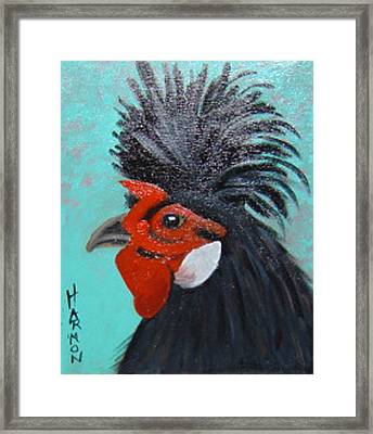 Framed Print featuring the painting Red Faced Rooster by Margaret Harmon