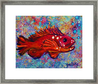 Red Fish Framed Print by Paintings by Gretzky