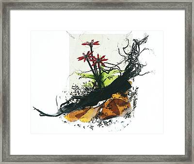 Red Flowers Framed Print by Mariann Taubensee