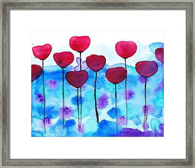 Red Flowers Watercolor Painting Framed Print by Karen Pappert