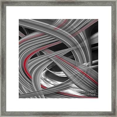 Framed Print featuring the digital art Red Flows by Johnny Hildingsson