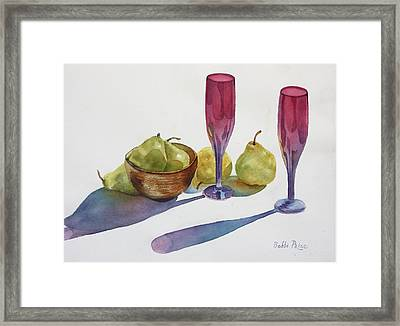 Red Flutes And Pears Framed Print by Bobbi Price