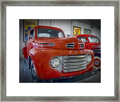Framed Print featuring the photograph Red Ford Pickup by Steve Benefiel