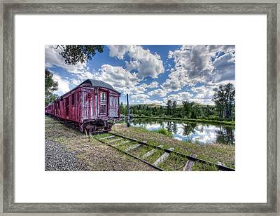Red Ghost Town Train - Montana Framed Print by Daniel Hagerman