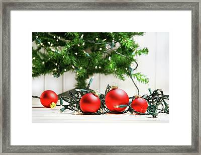 Red Glass Balls With Lights  Framed Print by Sandra Cunningham