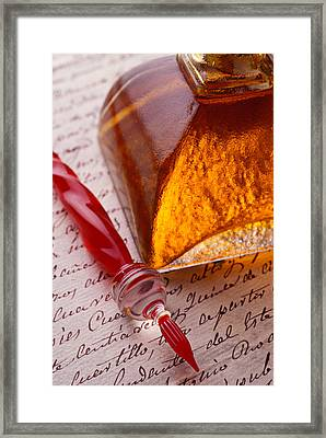 Red Glass Pen  Framed Print by Garry Gay