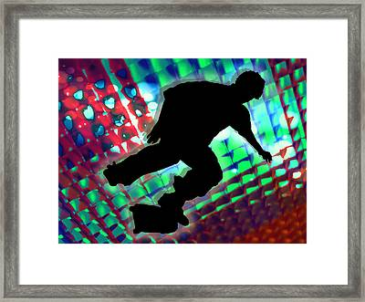 Red Green And Blue Abstract Boxes Skateboarder Framed Print by Elaine Plesser