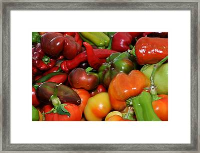 Framed Print featuring the photograph Red Green Orange And Yellow Peppers by Diane Lent