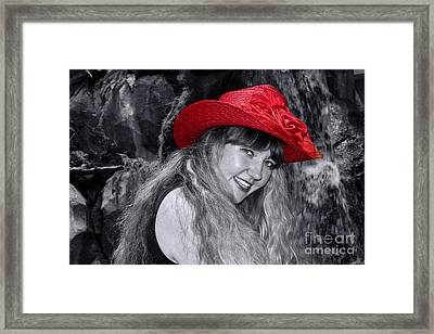 Red Hat And A Blonde Black And White Framed Print