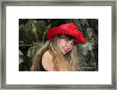 Red Hat And A Blonde Framed Print by Mariola Bitner