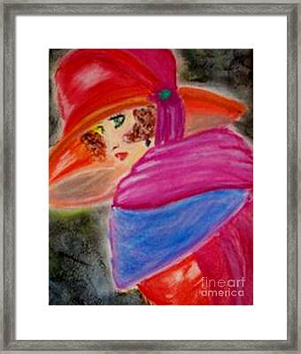Framed Print featuring the painting Red Hat by Lori  Lovetere