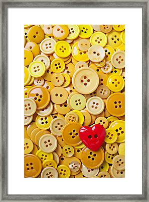 Red Heart And Yellow Buttons Framed Print by Garry Gay