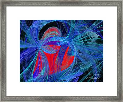 Red Heart Blue Lace Framed Print by Andee Design