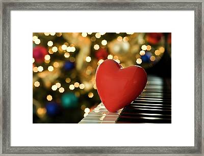 Red Heart On Piano, Sandusky Framed Print