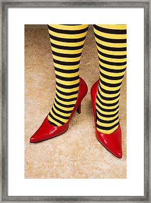Red High Heels Andstockings Framed Print by Garry Gay