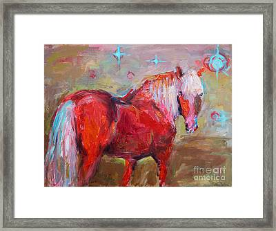 Red Horse Contemporary Painting Framed Print by Svetlana Novikova