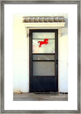 Red Horse Door Framed Print by Joe Jake Pratt